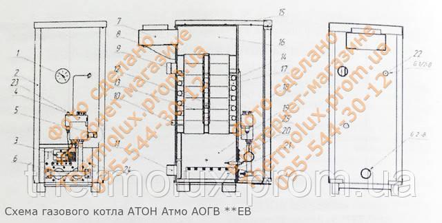 Схема газового котла АТОН Атмо АОГВ 8ЕВ