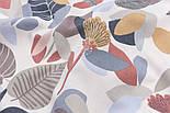 Відріз тканини Duck з осіннім листям теракотового і сірого кольору, розмір 125 * 180 см, фото 4