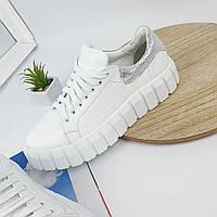 Жіночі кросівки натуральна шкіра на ребристій підошві, фото 1
