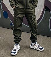 Модные брюки карго на манжета для мальчиков из Soft Shellх с карманами хаки, весна осень