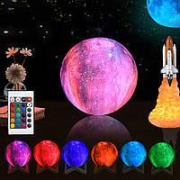 Настольный светильник ночник Галактика 3D 12 см с пультом
