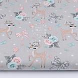 Відріз тканини з козулями, трояндами, бантиками на сірому, колекція Vintage, № 2693а, розмір 68 * 160 см, фото 2