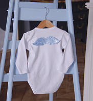 """Боди с длинным рукавом """"Ангел"""" белый с крылышками (голубой)"""