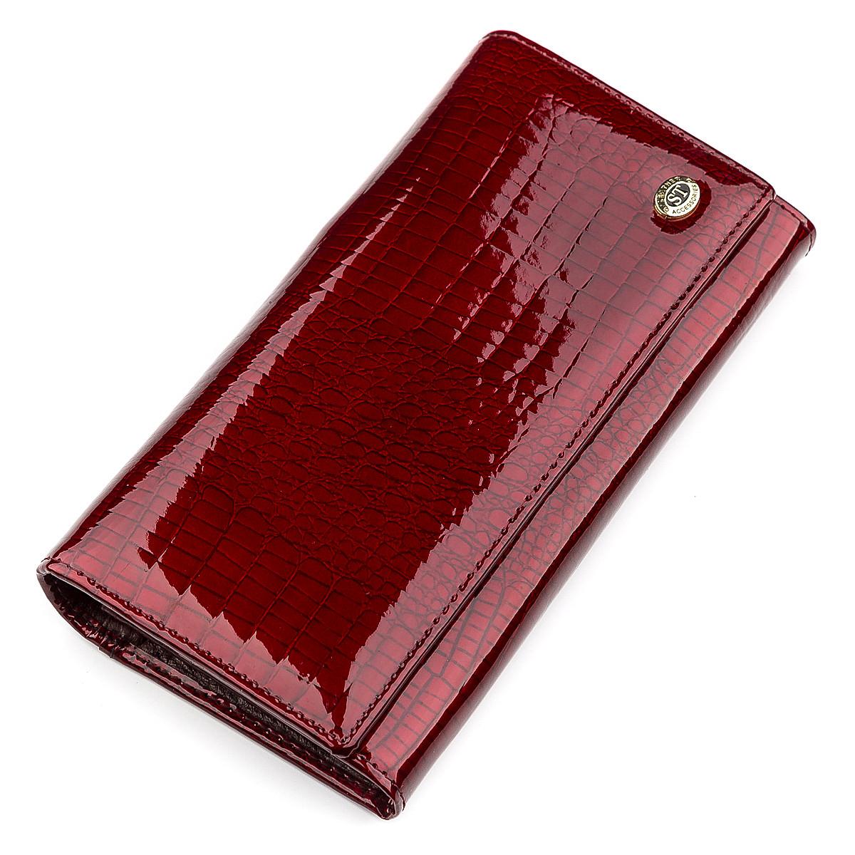 Кошелек женский ST Leather 09425 (S6001A) лакированная кожа Бордовый