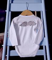 """Боди с длинным рукавом """"Ангел"""" белый с крылышками (серебро)"""