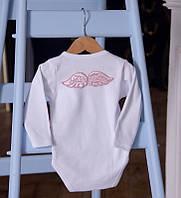 """Боди с длинным рукавом """"Ангел"""" белый с крылышками (розовый)"""