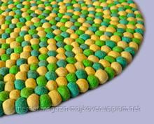 Зелено-жовтий вовняний килим з Непалу