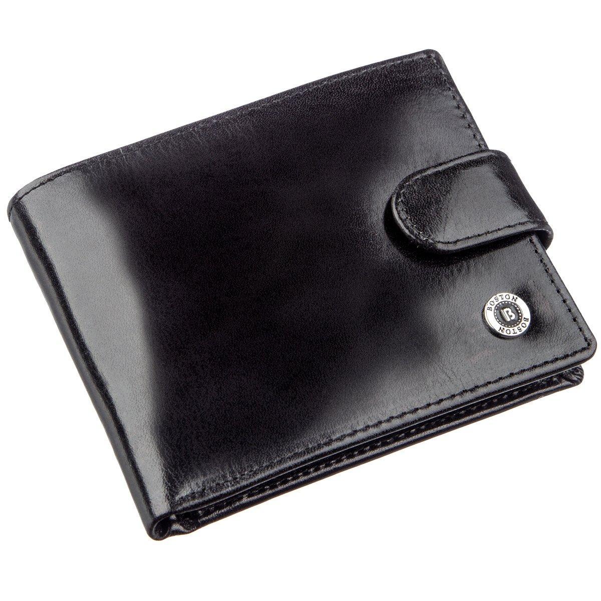 Якісний шкіряний гаманець для чоловіків Boston 18859 Чорний
