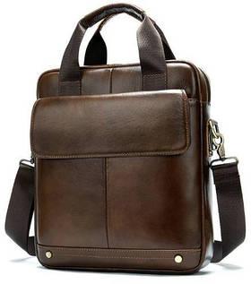 Вертикальная сумка мужская Vintage 14877 Коричневая