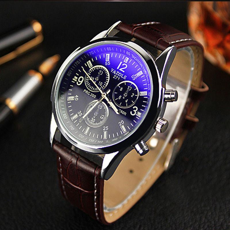 Мужские часы Yazole с коричневым ремешком