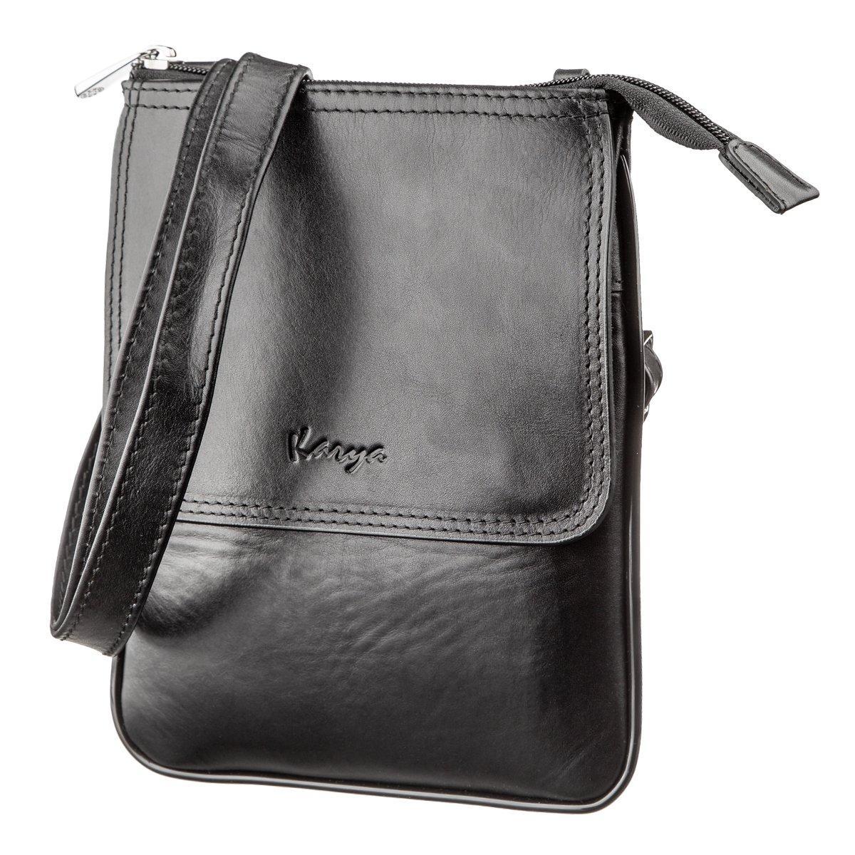 Мала сумка чоловіча гладка шкіра KARYA 17291 Чорна, Чорний