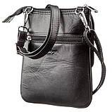 Мала сумка чоловіча гладка шкіра KARYA 17291 Чорна, Чорний, фото 2