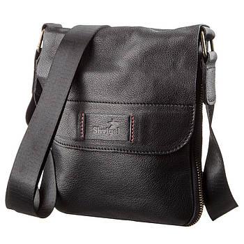 Чоловіча шкіряна сумка месенджер SHVIGEL 19113 Чорна, Чорний