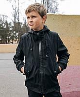 Детская куртка с капюшоном для мальчика из Soft Shell черная, демисезонная, спортивная ветровка весна-осень