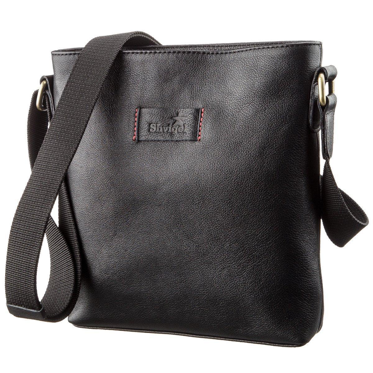 Мужская кожаная сумка без клапана SHVIGEL 19119 Черная