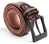 Ремень с массивной пряжкой Vintage 20128 Коричневый, фото 4