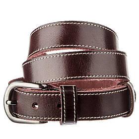 Ремінь унісекс зі строчкою по краях Vintage 20125 Темно-коричневий
