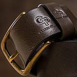 Ремінь чоловічий з закругленою пряжкою Grande Pelle 11272 Капучіно, фото 4