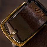Ремень мужской с круглой латуниевой пряжкой Grande Pelle 11269 Красно-коричневый, фото 4