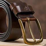 Ремень мужской с круглой латуниевой пряжкой Grande Pelle 11269 Красно-коричневый, фото 6
