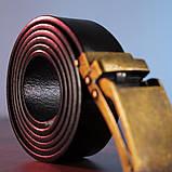 Ремень из натуральной кожи с ретро латунной автоматической пряжкой Vintage 20219 Черный, фото 5