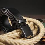Ремень мужской с пряжкой матовой Vintage 20269 Черный, фото 5
