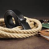 Ремень мужской с пряжкой матовой Vintage 20269 Черный, фото 6