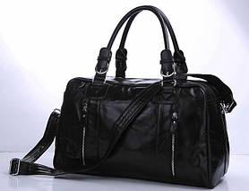 Сумка дорожня Vintage 14135 шкіряна Чорна, Чорний