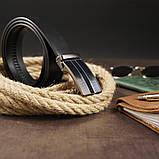 Ремень мужской с автоматической пряжкой и полосками Vintage 20330 Черный, фото 5