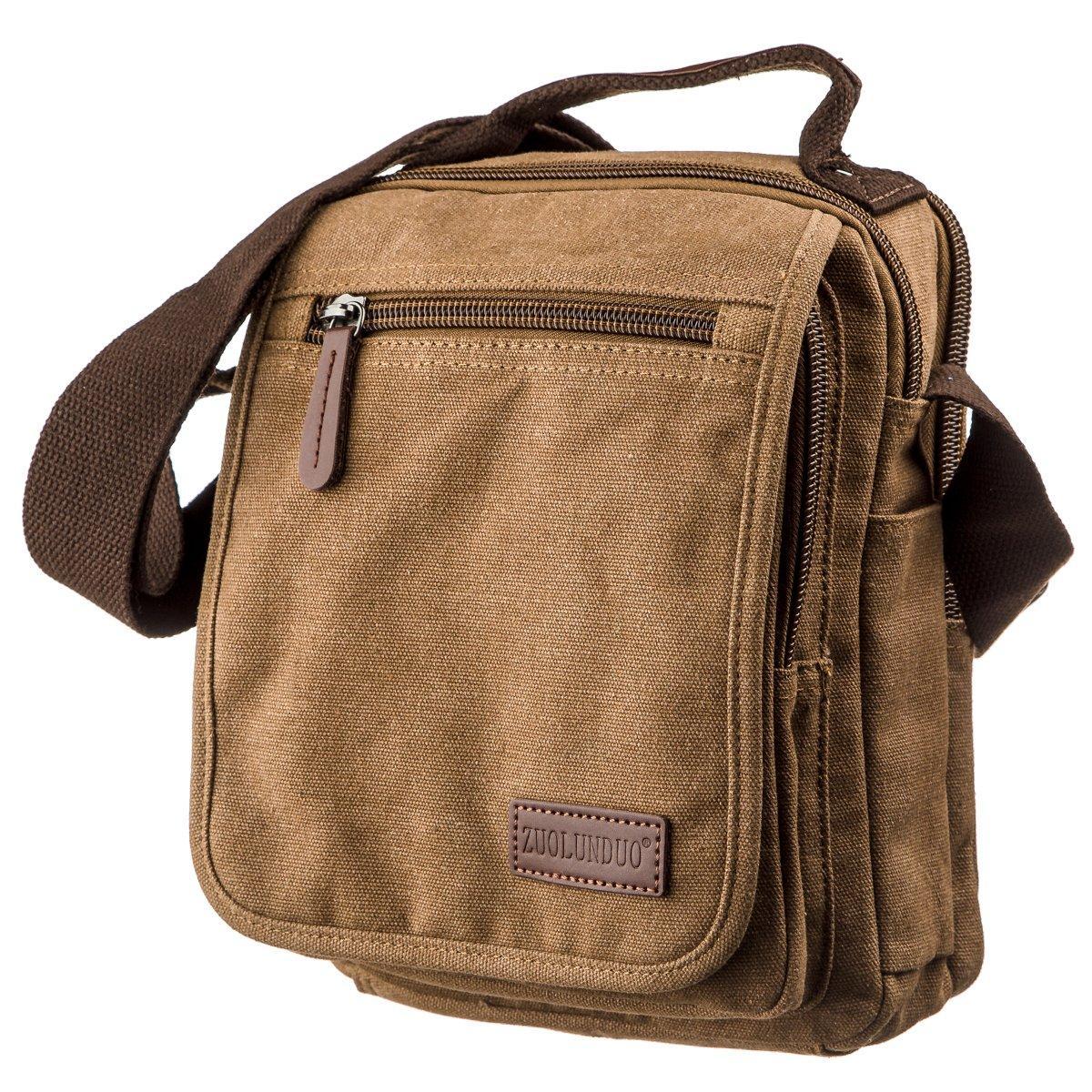 Универсальная текстильная мужская сумка на два отделения Vintage 20200 Коричневая
