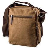 Универсальная текстильная мужская сумка на два отделения Vintage 20200 Коричневая, фото 2