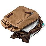 Универсальная текстильная мужская сумка на два отделения Vintage 20200 Коричневая, фото 3