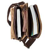 Универсальная текстильная мужская сумка на два отделения Vintage 20200 Коричневая, фото 5