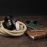 Ремень с автоматической пряжкой с узором Vintage 20251 Черный, фото 6