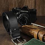 Ремінь чоловічий з затемненій пряжкою механіка Vintage 20317 Чорний, фото 5