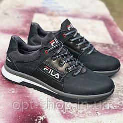 Кросівки чоловічі шкіряні Fila copy чорні демісезонні весняні,кросівки чоловічі шкіряні чорні від виробника