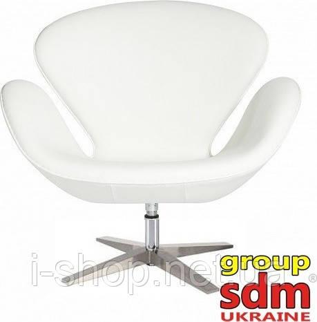 Крісло сван СВ, екошкіра, підстава метал, повертається, колір білий