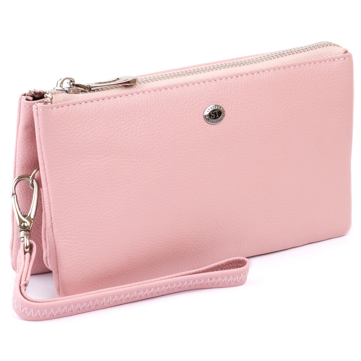 Місткий клатч на два відділення жіночий ST Leather 14450 Рожевий