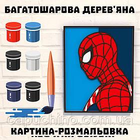 Деревянная картина-раскраска Постер Человек Паук
