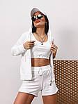 Жіночий спортивний костюм - трійка, двунить, р-р 42-44; 44-46 (білий), фото 3