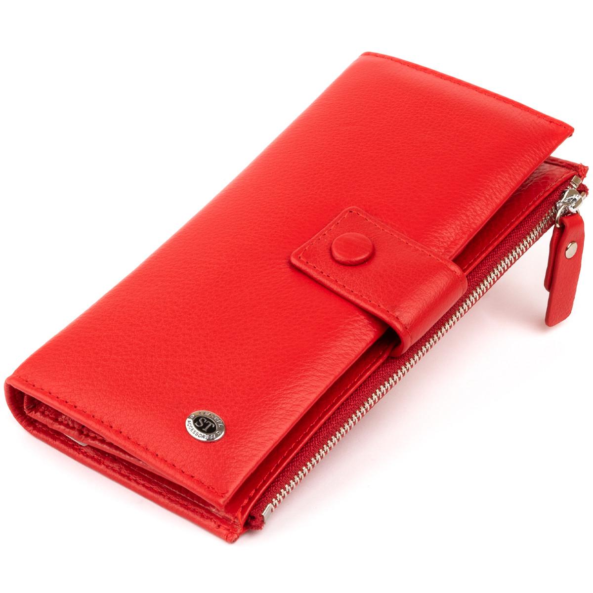 Оригинальный кошелек кожаный женский на хлястике с кнопкой ST Leather 40281 Красный