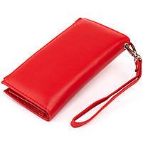 Оригинальный кошелек кожаный женский на хлястике с кнопкой ST Leather 40281 Красный, фото 2