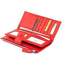 Оригинальный кошелек кожаный женский на хлястике с кнопкой ST Leather 40281 Красный, фото 3