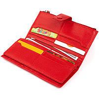 Оригинальный кошелек кожаный женский на хлястике с кнопкой ST Leather 40281 Красный, фото 5