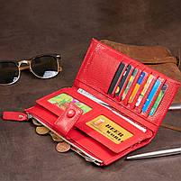 Оригинальный кошелек кожаный женский на хлястике с кнопкой ST Leather 40281 Красный, фото 6