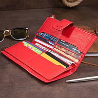 Оригинальный кошелек кожаный женский на хлястике с кнопкой ST Leather 40281 Красный, фото 7