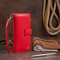 Оригинальный кошелек кожаный женский на хлястике с кнопкой ST Leather 40281 Красный, фото 8