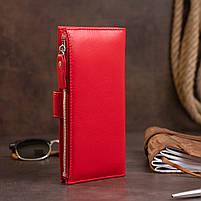 Оригинальный кошелек кожаный женский на хлястике с кнопкой ST Leather 40281 Красный, фото 9