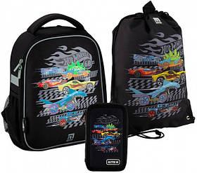 Рюкзак укомплектованный Kite Education Hot Wheels 35x26x13.5 см 12 л Черный (SET_HW20-555S)