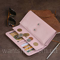 Гаманець шкіряний в два складання жіночий ST Leather 19420 Пудровий, фото 8